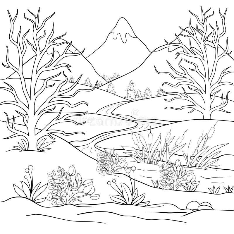 Взрослая книжка-раскраска, вызывает абстрактный ландшафт для ослаблять иллюстрация вектора
