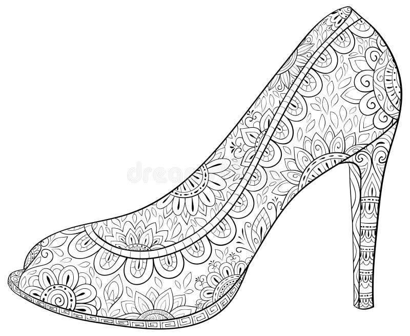 Взрослая книжка-раскраска, вызывает ботинок с высоким heelimage для ослаблять Иллюстрация стиля искусства Дзэн бесплатная иллюстрация