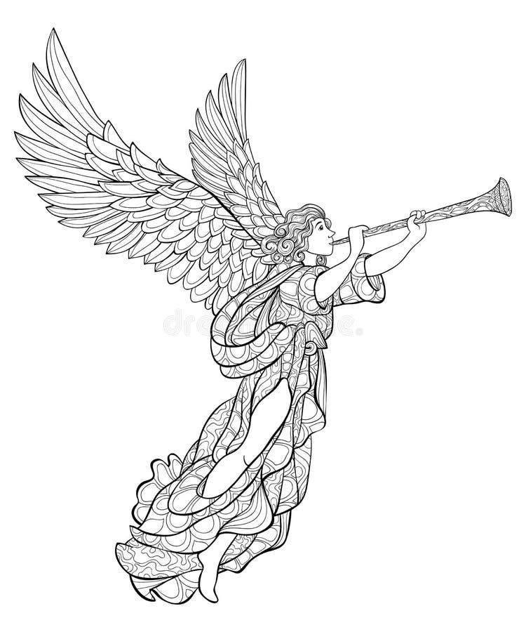 Взрослая книжка-раскраска, вызывает изображение ангела рождества для ослаблять иллюстрация вектора
