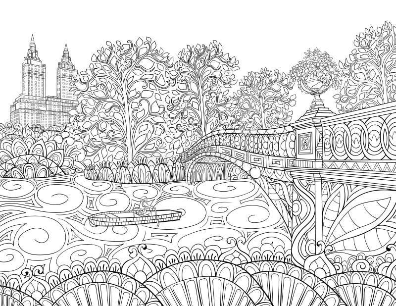 Взрослая книжка-раскраска, вызывает изображение ландшафта для ослаблять бесплатная иллюстрация