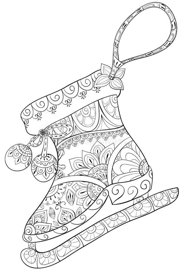 Взрослая книжка-раскраска, вызывает изображение scate для ослаблять Иллюстрация стиля искусства Дзэн иллюстрация штока