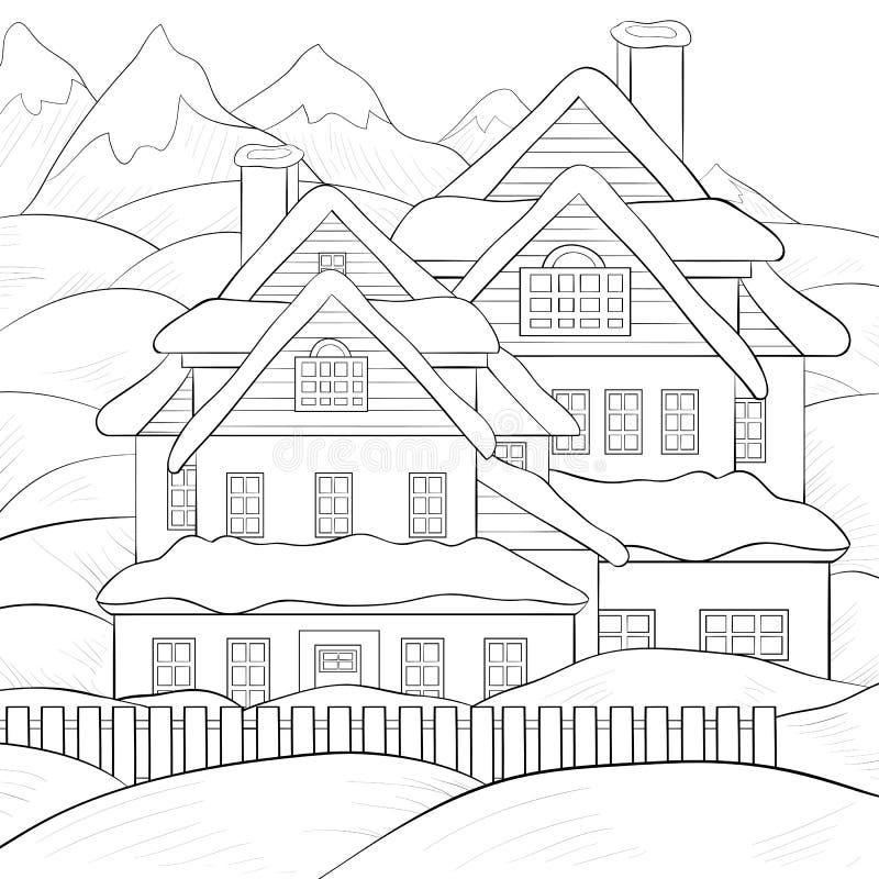 Взрослая книжка-раскраска, вызывает ландшафт зимы с изображением дома для ослаблять бесплатная иллюстрация