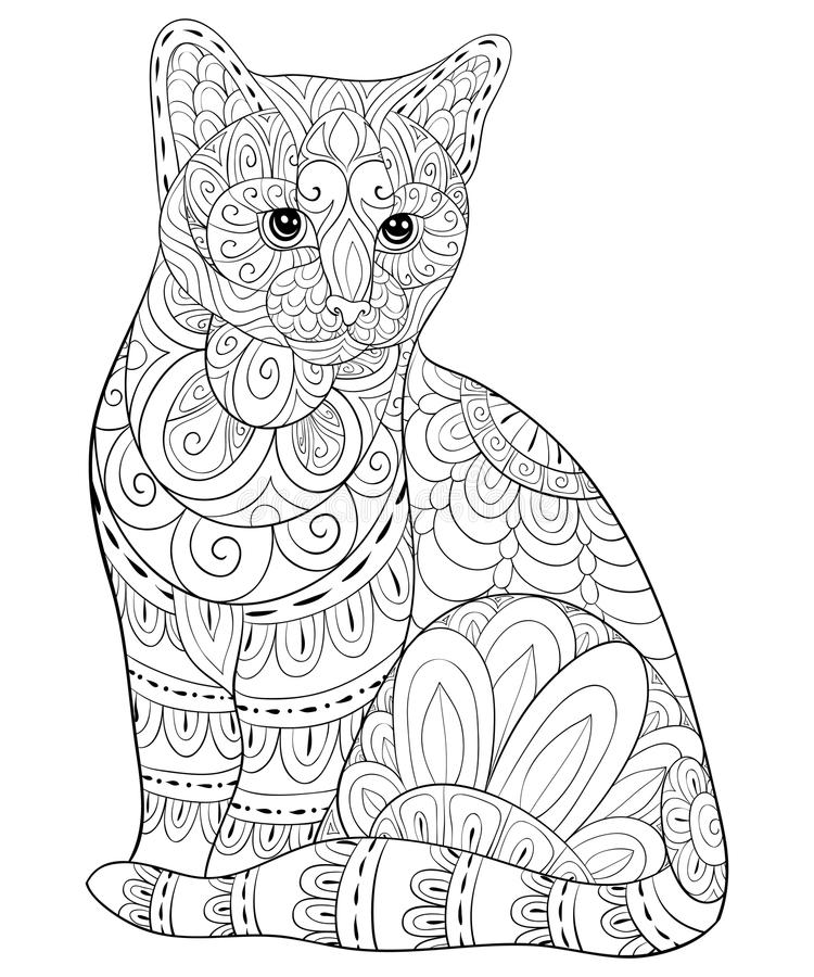 Взрослая книжка-раскраска, вызывает милого изолированного кота для ослаблять Иллюстрация стиля искусства Дзэн иллюстрация штока