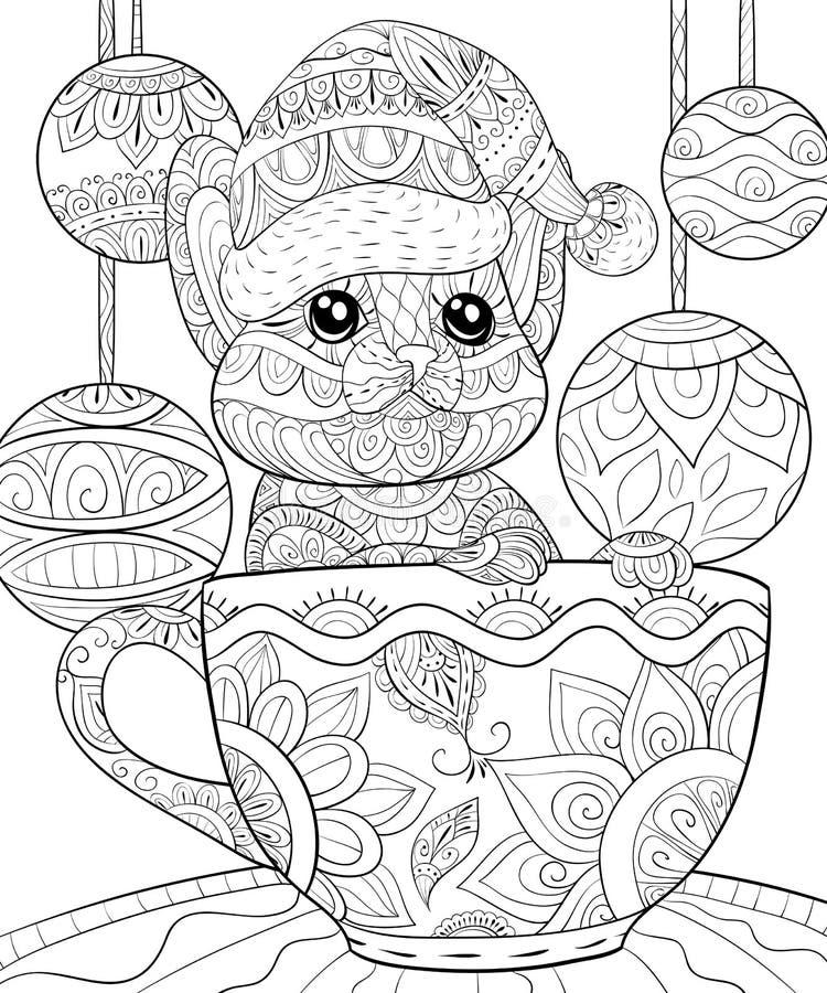 Взрослая книжка-раскраска, вызывает милого кота в чашке с шариками украшения рождества для ослаблять бесплатная иллюстрация