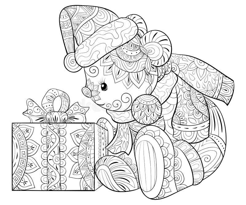 Взрослая книжка-раскраска, вызывает милого медведя с подарком для ослаблять Иллюстрация стиля искусства Дзэн иллюстрация штока