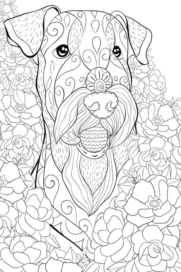 Взрослая книжка-раскраска, вызывает милое головное dogon флористическая предпосылка для ослаблять Иллюстрация стиля искусства Дзэ бесплатная иллюстрация