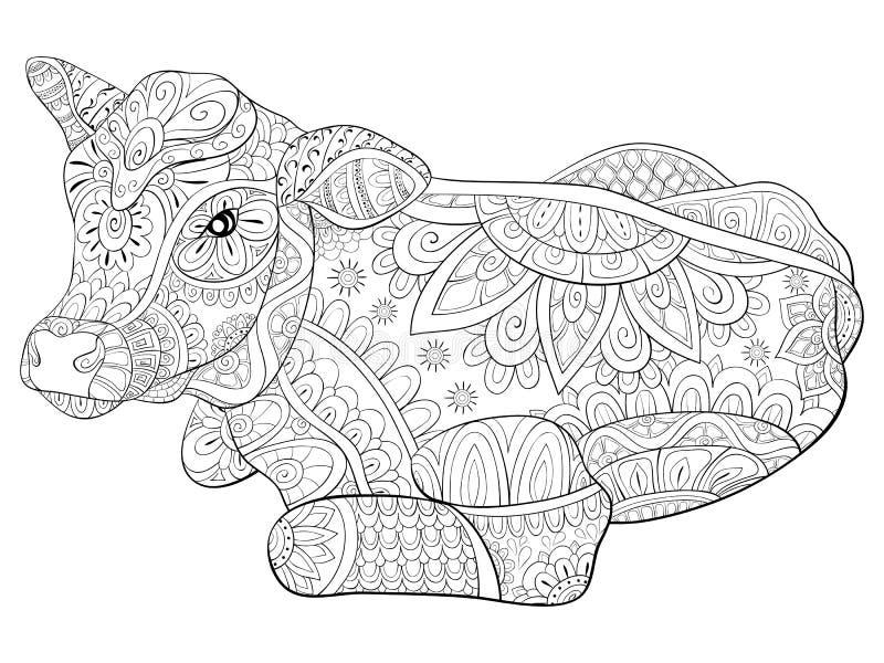 Взрослая книжка-раскраска, вызывает милое изображение коровы для ослаблять иллюстрация вектора