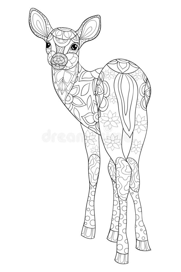 Взрослая книжка-раскраска, вызывает милое изображение оленей для ослаблять иллюстрация штока