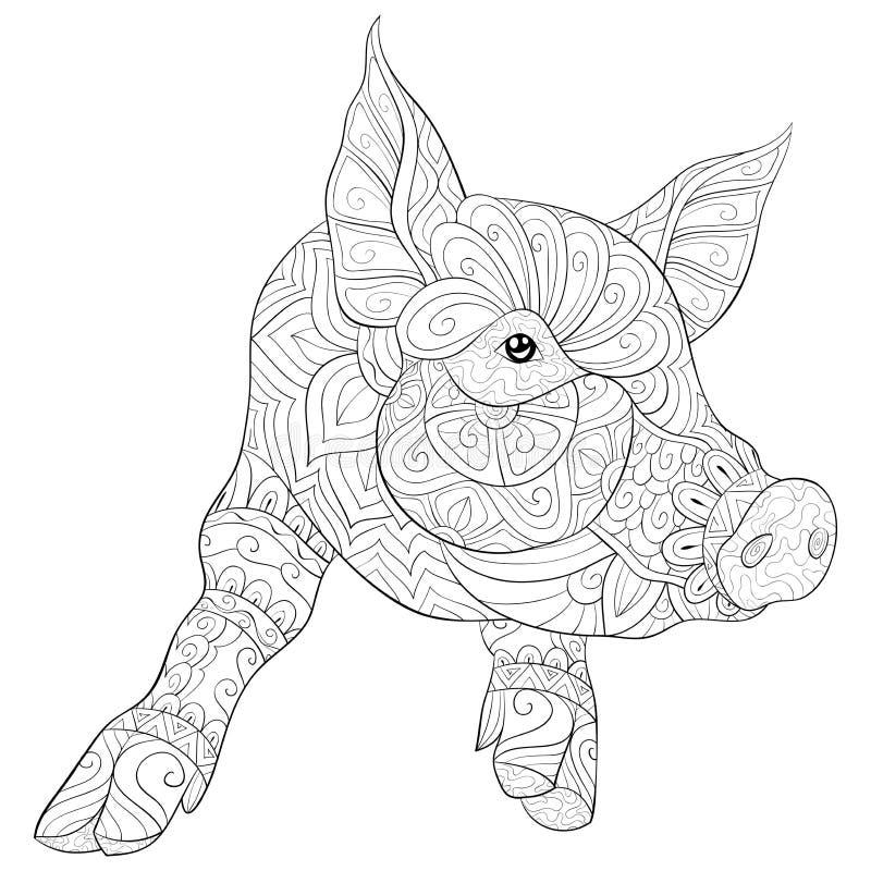Взрослая книжка-раскраска, вызывает милое изображение свиньи для ослаблять Иллюстрация стиля искусства Дзэн иллюстрация вектора