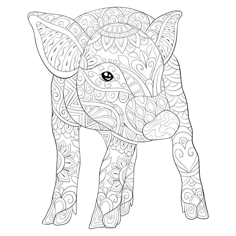 Взрослая книжка-раскраска, вызывает милое изображение свиньи для ослаблять Иллюстрация стиля искусства Дзэн иллюстрация штока