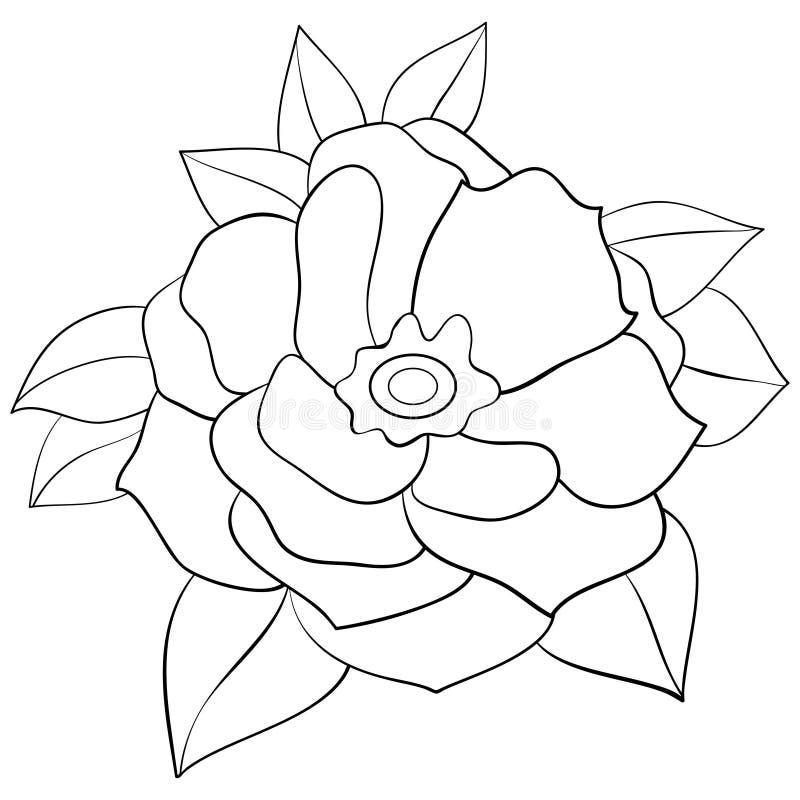 Взрослая книжка-раскраска, вызывает милое изображение цветка для ослаблять Иллюстрация стиля искусства Дзэн иллюстрация вектора