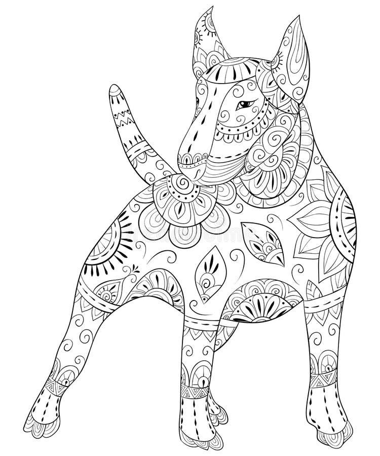 Взрослая книжка-раскраска, вызывает милую изолированную собаку для ослаблять Иллюстрация стиля искусства Дзэн иллюстрация вектора