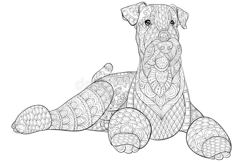 Взрослая книжка-раскраска, вызывает милую изолированную собаку для ослаблять Иллюстрация стиля искусства Дзэн иллюстрация штока