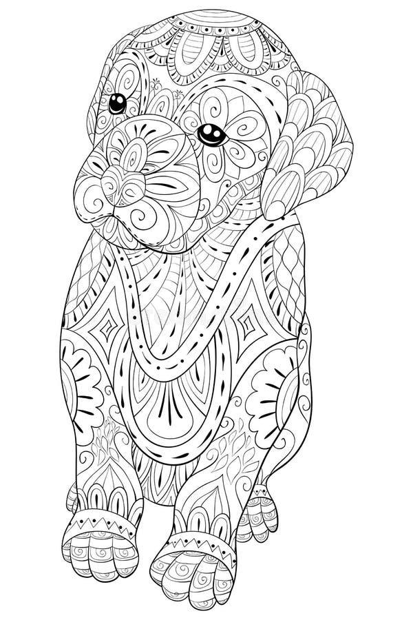 Взрослая книжка-раскраска, вызывает милую маленькую собаку для ослаблять Иллюстрация стиля искусства Дзэн бесплатная иллюстрация