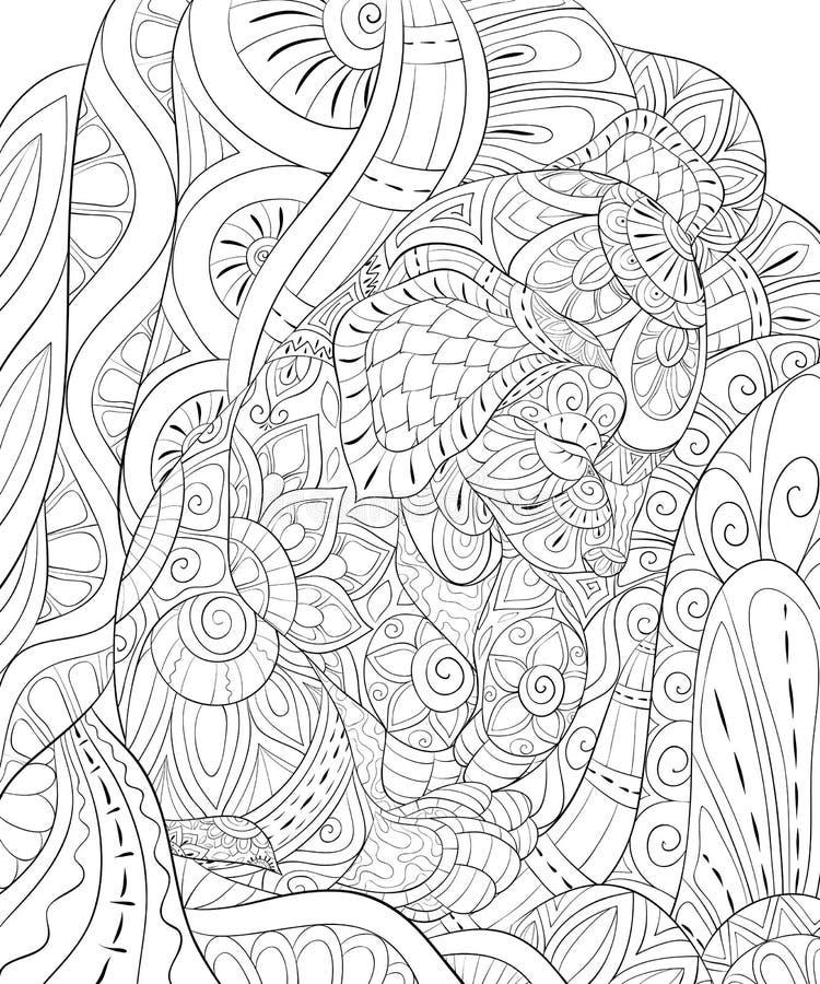 Взрослая книжка-раскраска, вызывает милую маленькую собаку сна на абстрактной предпосылке для ослаблять Иллюстрация стиля искусст иллюстрация штока