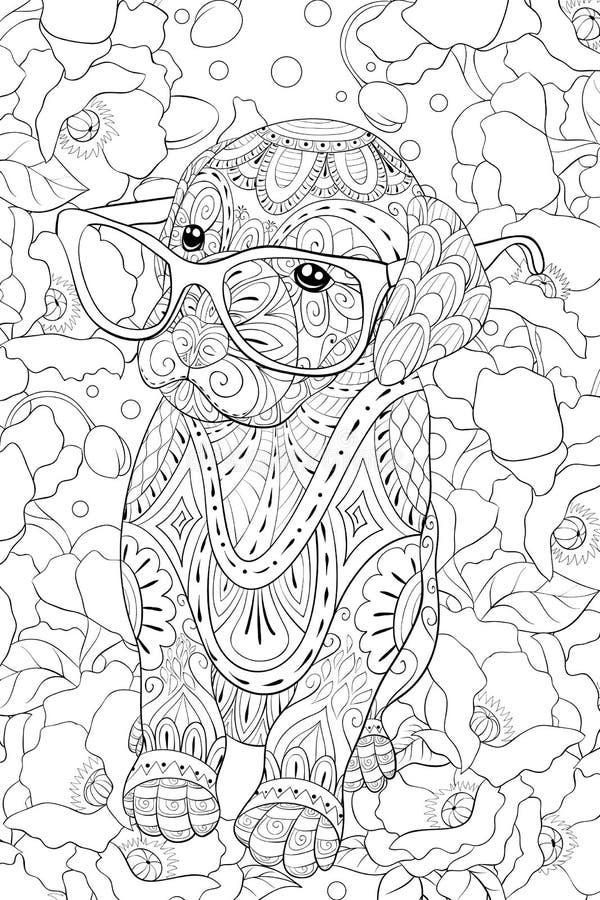Взрослая книжка-раскраска, вызывает милую маленькую собаку с стеклами для ослаблять Иллюстрация стиля искусства Дзэн иллюстрация вектора