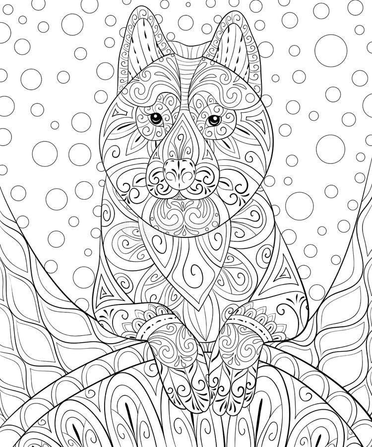 Взрослая книжка-раскраска, вызывает милую собаку на абстрактной предпосылке для ослаблять Иллюстрация стиля искусства Дзэн бесплатная иллюстрация