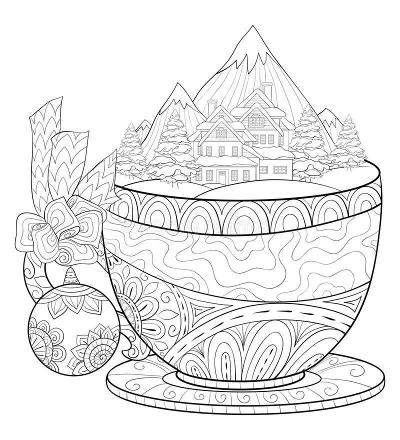 Взрослая книжка-раскраска, вызывает милую чашку с шариком lanscape зимы и украшения рождества и обхватывает для ослаблять иллюстрация штока