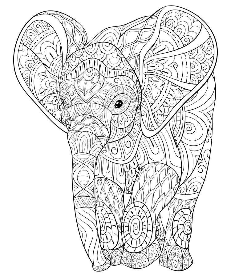 Взрослая книжка-раскраска, вызывает острую иллюстрацию слона для ослаблять бесплатная иллюстрация