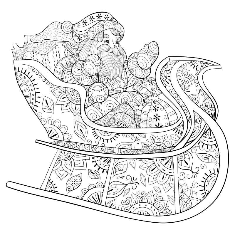 Взрослая книжка-раскраска, вызывает Санта Клауса в иллюстрации саней для ослаблять бесплатная иллюстрация