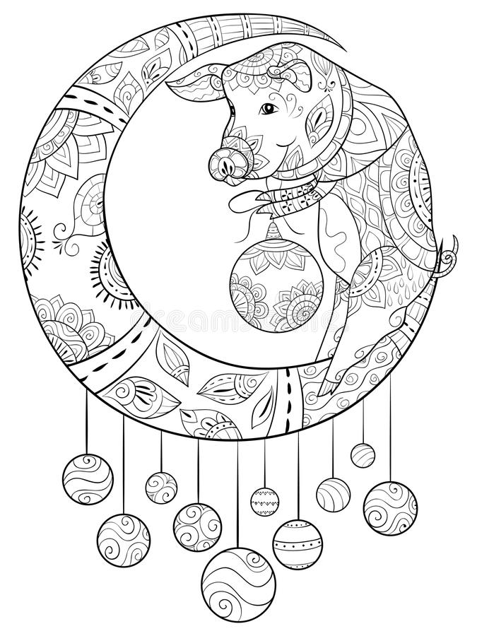 Взрослая книжка-раскраска, вызывает свинью рождества на луне с орнаментами украшения для ослаблять Zentangle иллюстрация штока