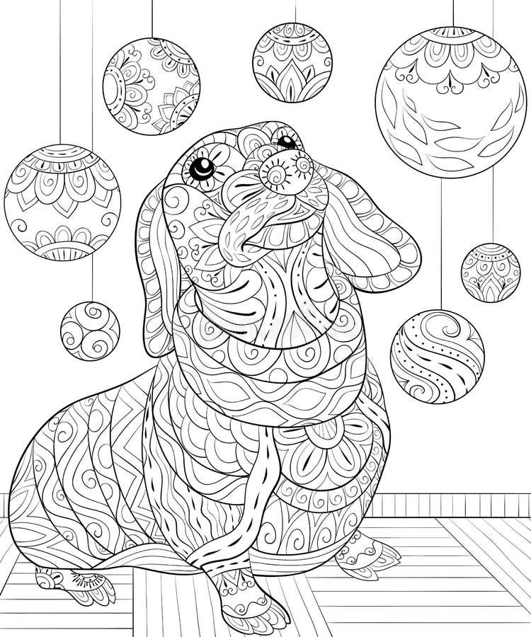 Взрослая книжка-раскраска, вызывает собаку рождества на предпосылке с орнаментами украшения для ослаблять Zentangle иллюстрация вектора