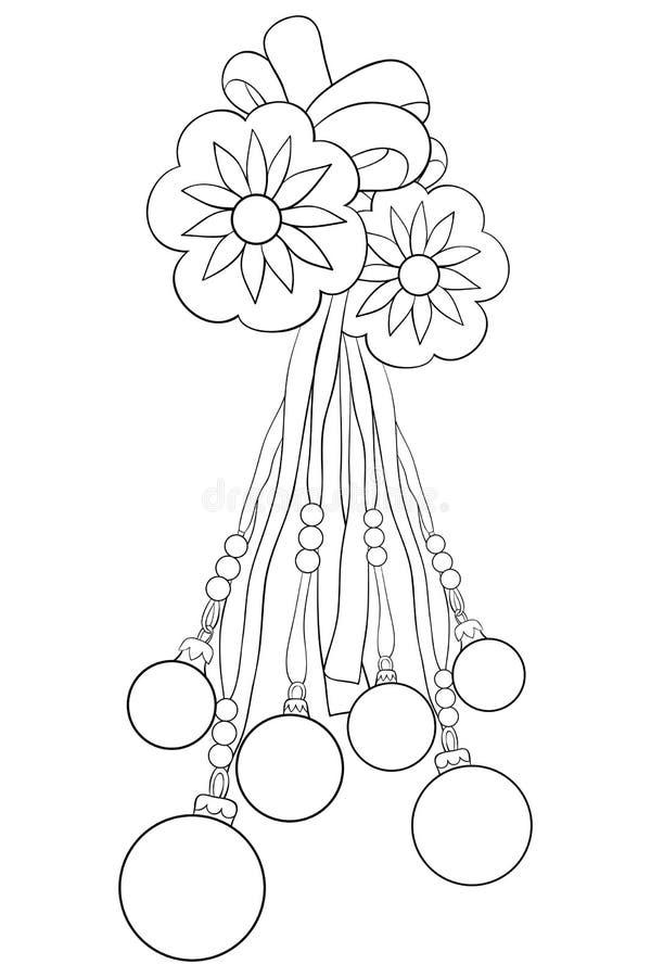 Взрослая книжка-раскраска, вызывает шарики украшения рождества для ослаблять Zentangle иллюстрация штока