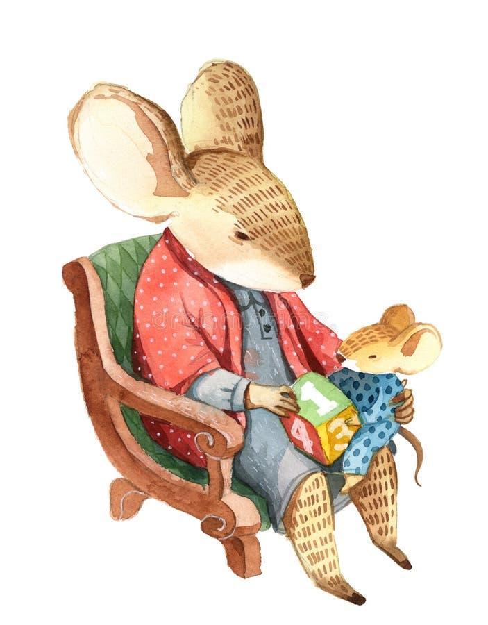 Взрослая мышь в платье сидит на стуле и показывает малое mous иллюстрация штока