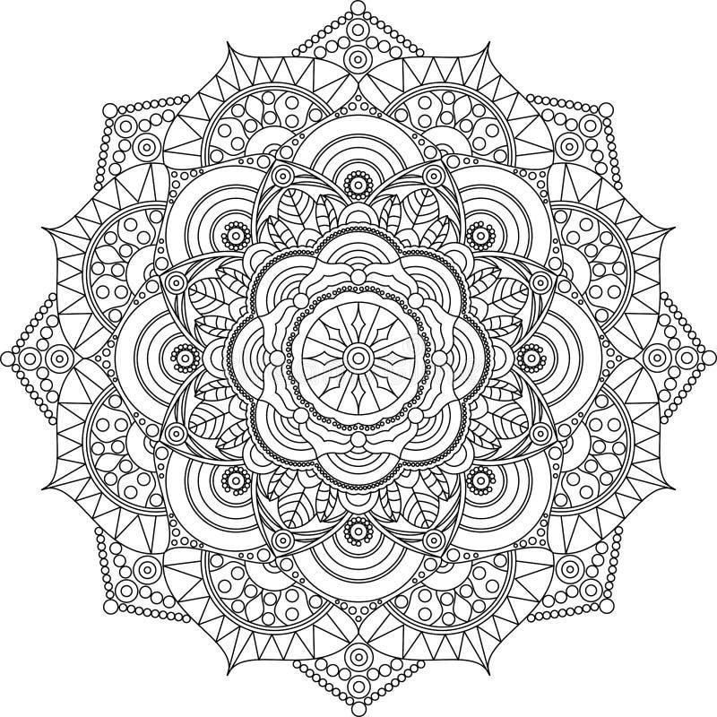 Взрослая страница расцветки мандалы Ослабьте и искусство иллюстрация штока