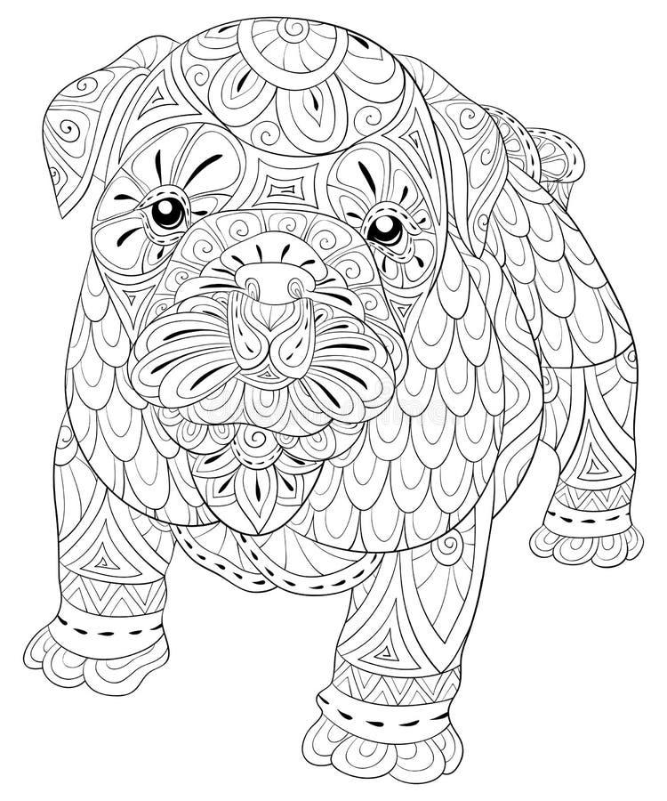 Взрослая страница расцветки милая изолированная собака для ослаблять Иллюстрация стиля искусства Дзэн бесплатная иллюстрация