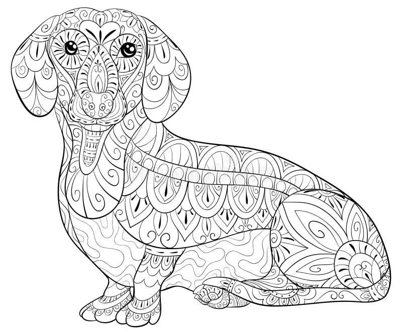 Взрослая страница расцветки милая такса для ослаблять Иллюстрация стиля искусства Дзэн иллюстрация штока