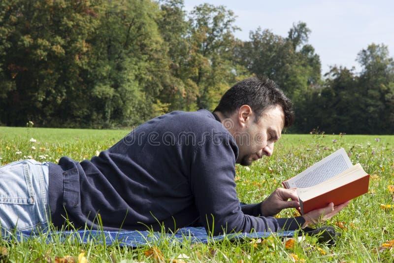 взрослые детеныши чтения парка стоковая фотография