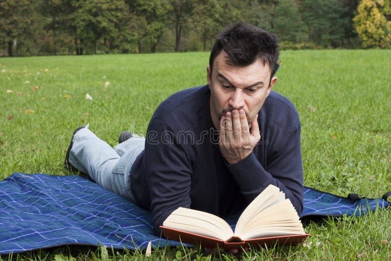 взрослые детеныши чтения парка стоковое фото rf