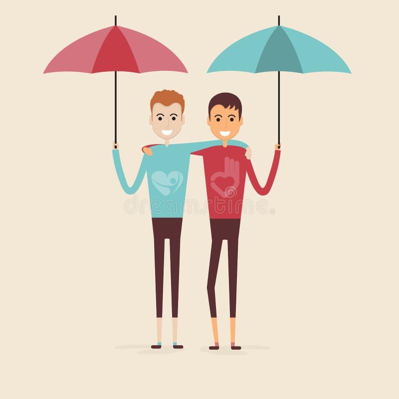 Взрослые парни, люди, 2 лучшего друга Счастливые усмехаясь друзья молодых человеков бесплатная иллюстрация