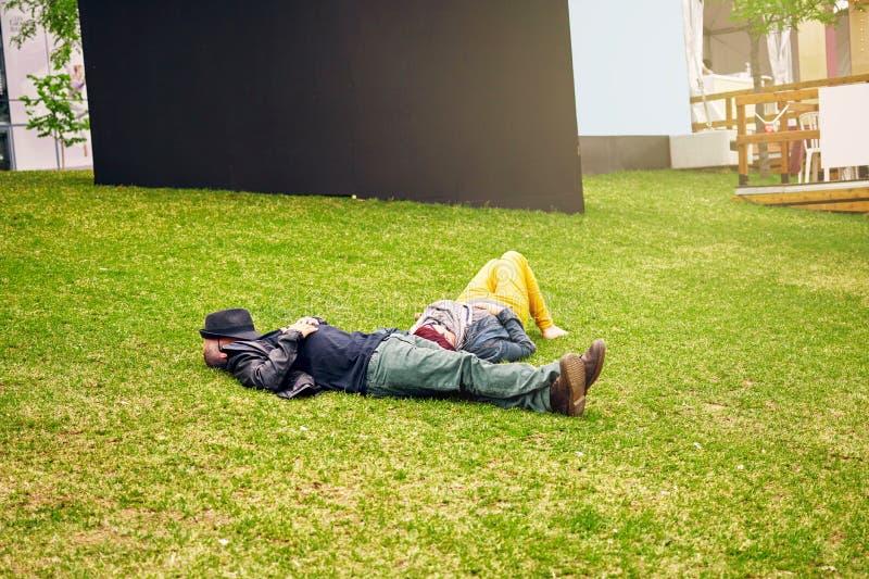 Взрослые пары лежа на поле травы и принимая ворсину Сторона человека покрыта с его шляпой o стоковые изображения rf