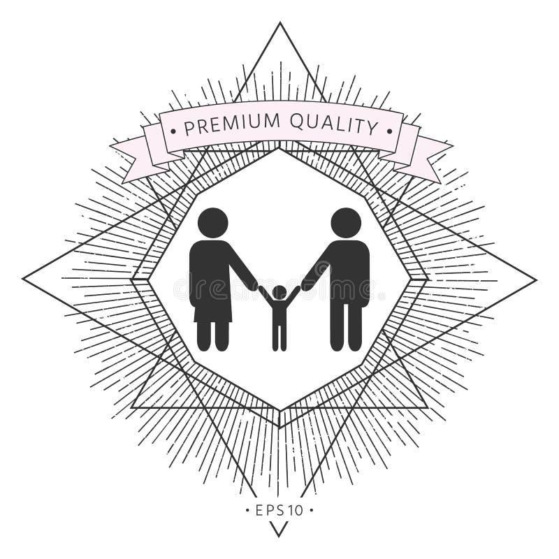 Взрослые с дето- значком семьи иллюстрация вектора