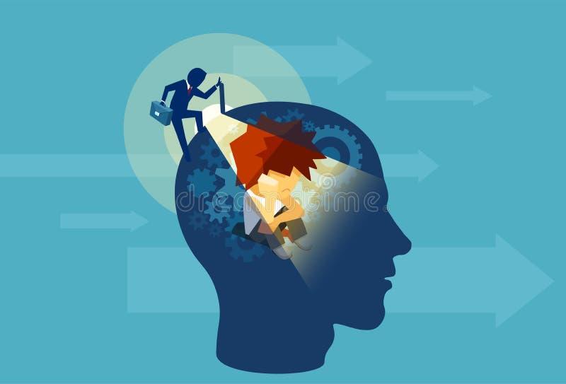 Взрослый бизнесмен раскрывая человеческую голову при разум ребенка подсознательный сидя внутрь иллюстрация штока