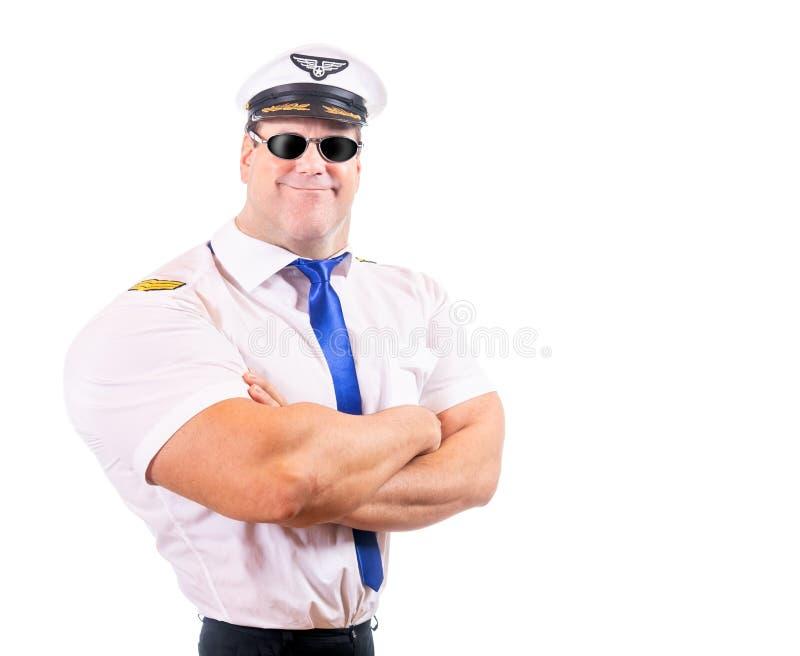 Взрослый пилот с солнечными очками как супергерой стоковое изображение rf