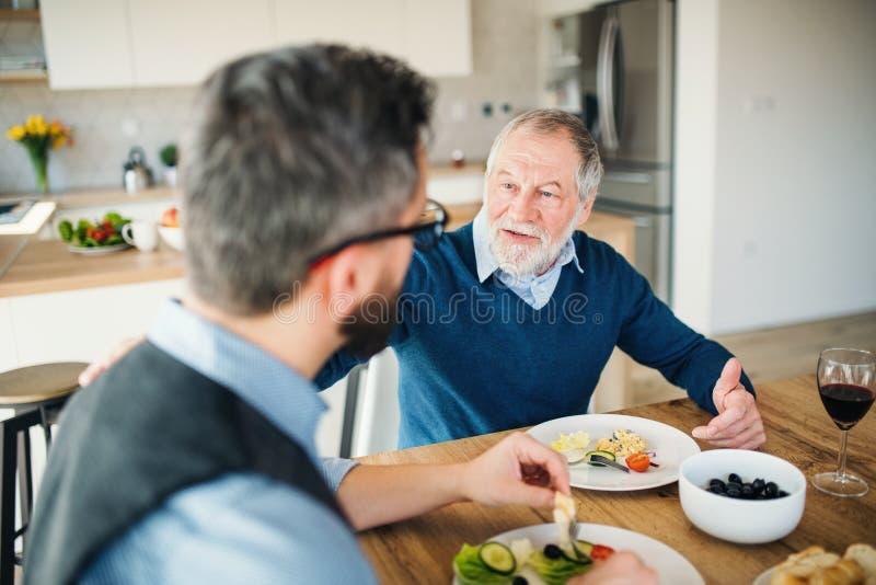Взрослый сын хипстера и старший отец внутри помещения дома, ел светлый обед стоковые фото