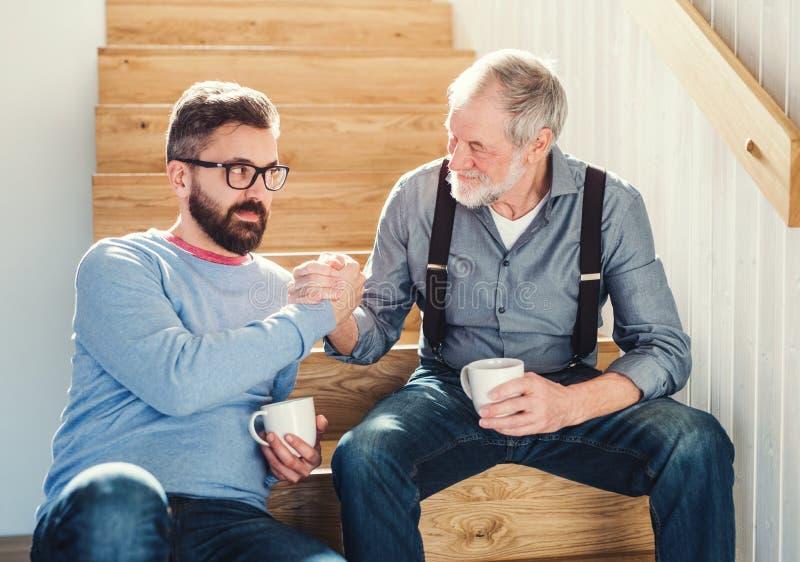 Взрослый сын хипстера и старший отец сидя на лестницах внутри помещения дома, говорящ стоковая фотография