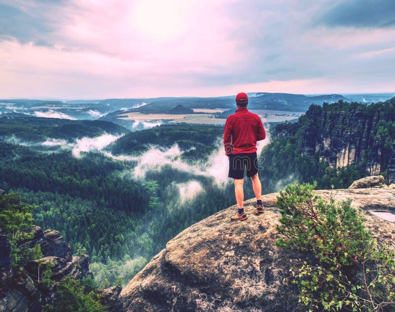 Взрослый hiker в красной рубашке и темных идущих брюках человек высокорослый стоковая фотография rf