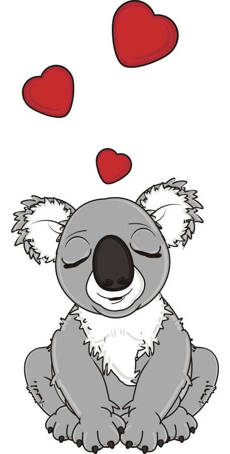 Взрослая коала в влюбленности иллюстрация вектора