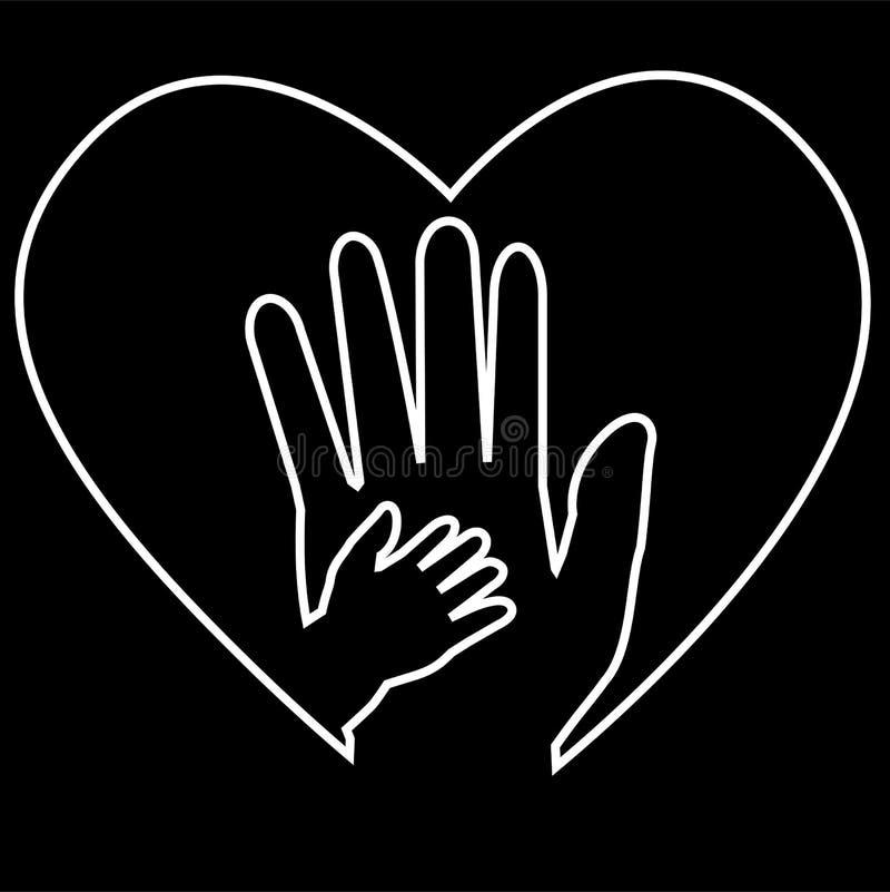 Взрослая рука и рука младенца на влюбленности формируют белизну на черной предпосылке бесплатная иллюстрация