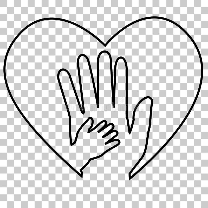 Взрослая рука и рука младенца на влюбленности формируют, на прозрачной предпосылке влияния иллюстрация штока