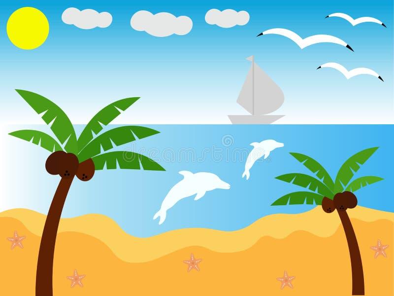 взрослые молодые праздники Пляж Море сладостно Самый лучший выбор в моей жизни иллюстрация вектора