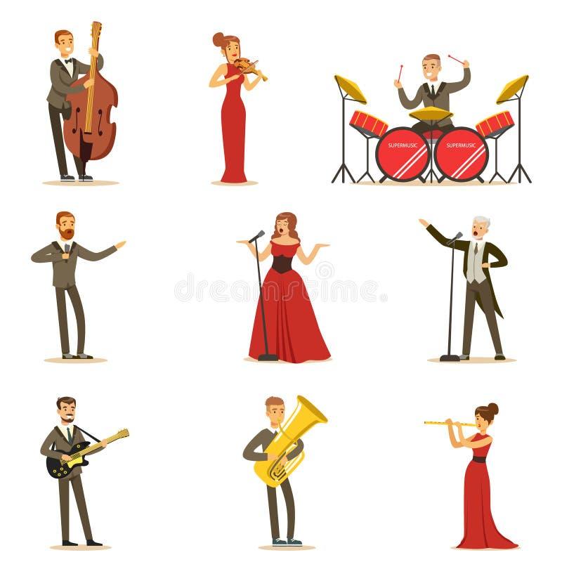 Взрослые музыканты и певицы выполняя музыкальный номер на этапе в собрании концертного зала персонажей из мультфильма бесплатная иллюстрация