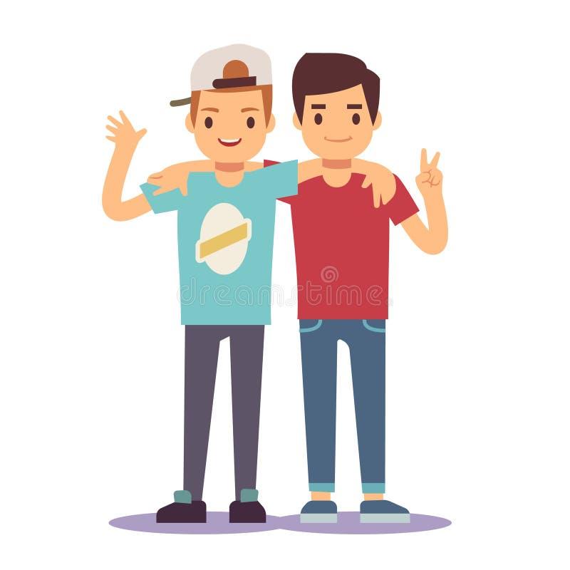 Взрослые парни, люди, 2 лучшего друга Концепция вектора приятельства бесплатная иллюстрация