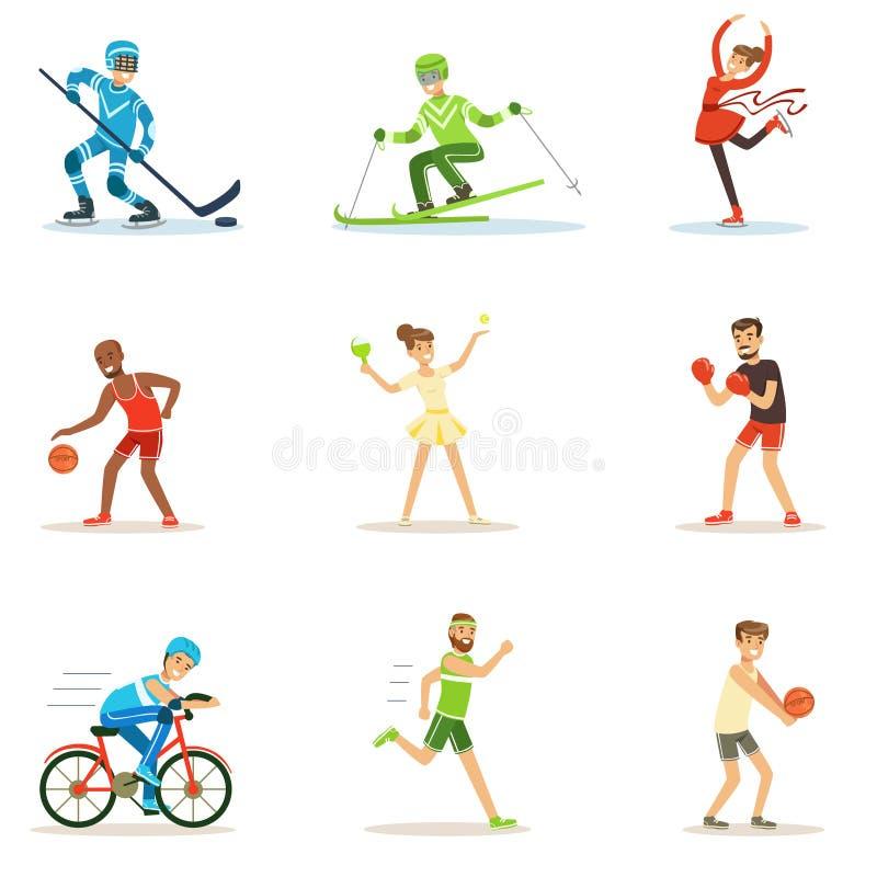 Взрослые люди практикуя различные олимпийские серии спорт персонажей из мультфильма в Sportive форме участвуя внутри бесплатная иллюстрация