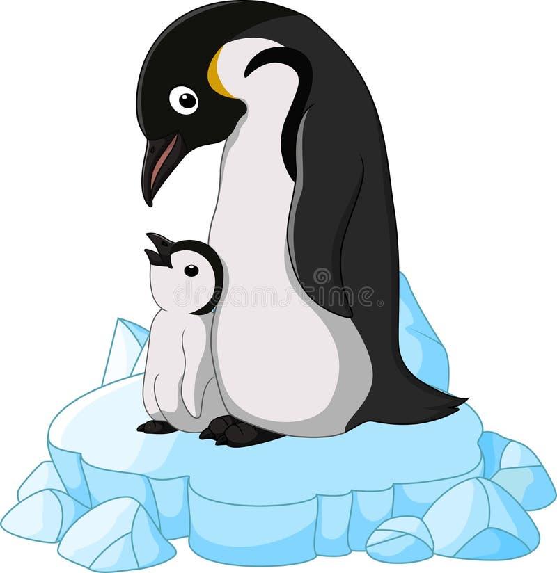 Взрослый пингвин со своим цыпленоком иллюстрация вектора
