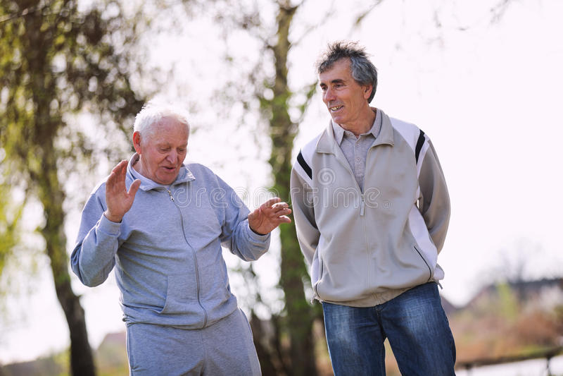 Взрослый сын идя с его старшим отцом стоковое изображение rf